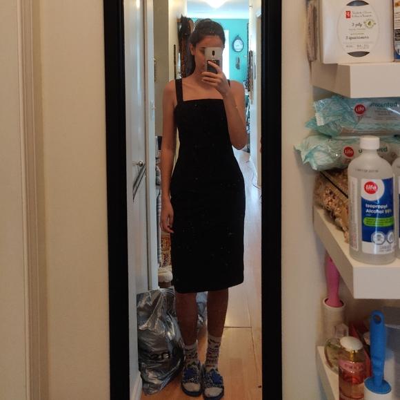 Black Square Neck Professional Dress